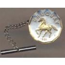 "Uruguay 10 Centesimal ""Horse"" Two Tone Gold on Silver World Coin Tie Tack"