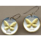 "Philippines 25 Sentimos ""Butterfly"" Two Tone Coin Earrings"