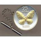 "Philippines 25 Sentimos ""Butterfly"" Two Tone Gold on Silver World Coin Tie Tack"