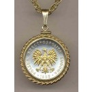 """Polish 5 Zlotych """"Eagle"""" Two Tone Gold Filled Rope Bezel Coin on 18"""" Necklace"""
