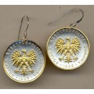 """Polish 5 Zlotych """"Eagle"""" Two Tone Coin Earrings"""