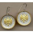 "German 1 Mark ""Eagle"" Two Tone Coin Earrings"