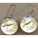 "Trinidad & Tobago 1 Cent ""Hummingbird"" Two Tone Coin Earrings"