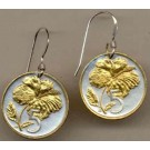 "Cook Islands 5 Cent ""Hibiscus"" Two Tone Coin Earrings"