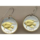 "Bermuda 5 Cent ""Angel Fish"" Two Tone Coin Earrings"