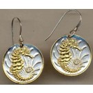 "Singapore 10 Cent ""Sea Horse"" Two Tone Coin Earrings"