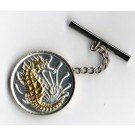 "Singapore 10 Cent ""Sea Horse"" Two Tone Coin Tie Tack"
