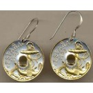 "Spanish 50 Centimes ""Anchor and Ships Wheel"" Two Tone Coin Earrings"