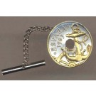 "Spanish 50 Centimes ""Anchor and Ships Wheel"" Two Tone Coin Tie Tack"