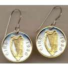 "Irish Penny ""Harp"" Two Tone Coin Earrings"