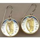 "Irish Penny ""Harp"" Two Tone Coin Earrings"