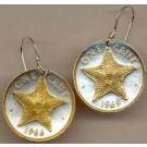 "Bahamas 1 Cent ""Star Fish"" Two Tone Coin Earrings"