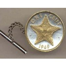 "Bahamas 1 Cent ""Star Fish"" Two Tone Gold on Silver World Coin Tie Tack"