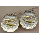 "Bahamas 10 Cent ""Bone Fish"" Two Tone Coin Earrings"