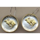 "Canadian Centennial 5 Cent ""Rabbit"" Two Tone Coin Earrings"