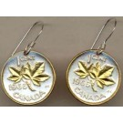 "Canadian Penny ""Maple Leaf"" Two Tone Coin Earrings"