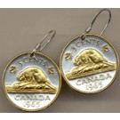 "Canadian Nickel ""Beaver"" Two Tone Coin Earrings"