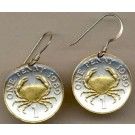 "Guernsey Penny ""Crab"" Two Tone Coin Earrings"
