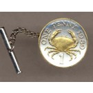 "Guernsey Penny ""Crab"" Two Tone Gold on Silver World Coin Tie Tack"