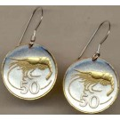 "Iceland 50 Aurar ""Shrimp"" Two Tone Coin Earrings"