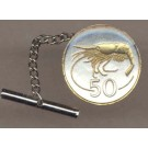 "Iceland 50 Aurar ""Shrimp"" Two Tone Gold on Silver World Coin Tie Tack"