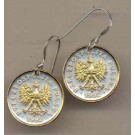 """Polish 5 Groszy """"Eagle with Crown"""" Two Tone Coin Earrings"""