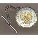 "Polish 5 Groszy ""Eagle"" Two Tone Gold on Silver World Coin Tie Tack"