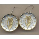 Ireland One Euro Two Tone Coin Earrings