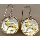 "Ireland 3 Pence ""Rabbit"" Two Tone Coin Earrings"