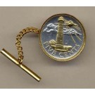 "Barbados 5 Cent ""Lighthouse"" Two Tone Gold on Silver World Coin Tie Tack"