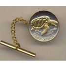 """Cape Verde 1 Escudos """"Sea Turtle"""" Two Tone Gold on Silver World Coin Tie Tack"""