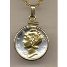 """Mercury Dime (1916 - 1945) Two Tone Plain Edge U.S. Coin with 18"""" Chain"""