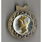 U.S. Mercury Silver Dime Two Tone Coin Ball Marker (Minted 1916 - 1945)