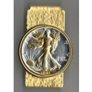 U.S. Walking Liberty Silver Half Dollar Two Tone Coin Hinge Money Clip (Minted 1916 - 1947)