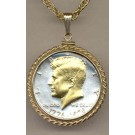 """Bicentennial Kennedy Half Dollar (1976) Two Tone Rope Bezel U.S. Coin Pendant with 24"""" Chain"""