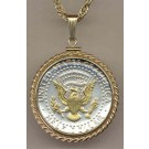 """Reverse Kennedy Half Dollar Two Tone Rope Bezel U.S. Coin Pendant with 24"""" Chain"""