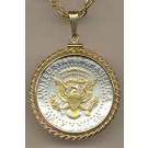 """Reverse Kennedy Half Dollar Two Tone Rope Bezel U.S. Coin Pendant with 24"""" Chain (Eagle, Stars, Banner in Gold)"""