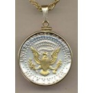"""Reverse Kennedy Half Dollar Two Tone U.S. Coin Pendant with 24"""" Chain"""
