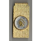 U.S. Indian Head Penny Two Tone Coin Hinge Money Clip (Minted 1859 - 1909)