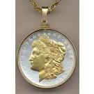 """Morgan Silver Dollar (1878 - 1921) Two Tone Plain Edge U.S. Coin with 24"""" Chain"""