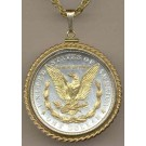 """Reverse Morgan Silver Dollar (1878 - 1921) Two Tone Rope Bezel U.S. Coin with 24"""" Chain"""