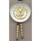 Reverse Morgan Silver Dollar Two Tone U.S. Coin Bolo Tie