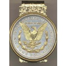 Reverse Morgan Silver Dollar (1878 - 1921) Two Tone U.S. Coin Hinged Money Clip