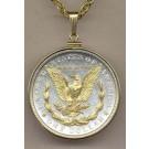"Reverse Morgan Silver Dollar (1878 - 1921) Two Tone Plain Edge U.S. Coin with 24"" Chain"