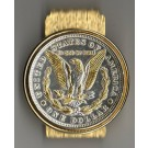 U.S. Morgan Silver Dollar Reverse Two Tone Coin Hinge Money Clip (Minted 1878 - 1921)