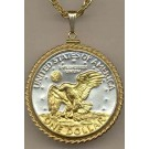 """Reverse Eisenhower Dollar (1971 - 1978) Two Tone Rope Bezel U.S. Coin with 24"""" Chain"""