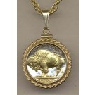 "Buffalo Nickel (1913 - 1938) Two Tone Rope Bezel U.S. Coin with 18"" Chain"