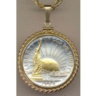 "Statue of Liberty Half Dollar (1986) Two Tone Rope Bezel U.S. Coin with 24"" Chain"