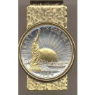Statue of Liberty Half Dollar (1986) Two Tone U.S. Coin Hinged Money Clip