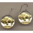 Buffalo Nickel Two Tone Coin Earrings